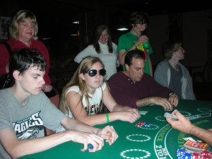 Serious action at the blackjack table